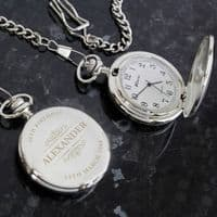 Personalised Classic Pocket Fob Watch - Ideal gift  for Weddings, Father's Day, Birthdays and Anniversaries.